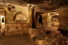 Famous landmark - ancient christian cemetery (catacombs) of Saint Paul. Rabat - stock photo