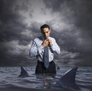 Latin businessman standing in shark infested waters Stock Photos