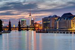 Evening at the river Spree in Berlin - stock photo