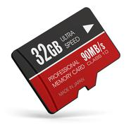 High speed 32GB MicroSD flash memory cards - stock illustration