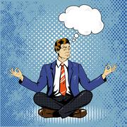 Meditating man with speech bubble in retro pop art comic style. Mental balance Stock Illustration