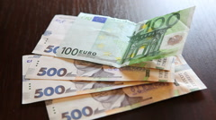 Money and currency exchange concept, euro with uah - stock footage