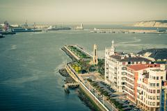 El Abra bay and Getxo pier and seafront, Spain Stock Photos
