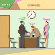 Business company roles situation infographics with boss, secretary and custom Stock Illustration