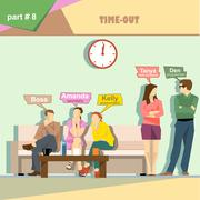 Business company roles situation infographics with boss, secretary, accountan - stock illustration