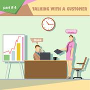 Business company roles situation infographics with boss and talking with a cu Stock Illustration