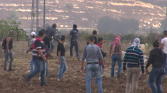 Clashes between Israelis and Palestinians in the city of Ramallah Stock Footage