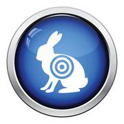 Hare silhouette with target  icon - stock illustration