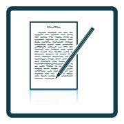 Sheet with text and pencil icon Stock Illustration