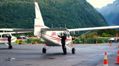 Single engine plane being cleaned Stock Footage