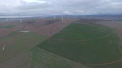 Flying Towards Wind Farm Stock Footage