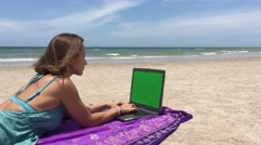 Freelance, beach, work, laptop, greenscreen, dream job Stock Footage