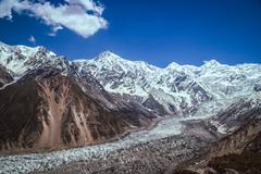 Massive glacier at the foot of Nanga Parbat mountain in the Karakorum range, Pak Stock Photos
