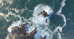 Aerial Wave Time Lapse of Water Crashing Over Rocks Stock Footage