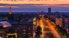 Warsaw John Paul II Avenue Sunset Timelapse Warszawa Stock Footage