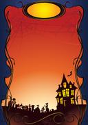 Halloween background with haunted house and graveyard Stock Illustration