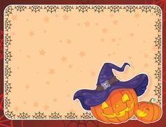 Halloween background with pumpkins - stock illustration