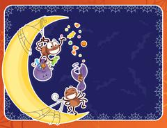 Halloween card with rowdy spiders. - stock illustration
