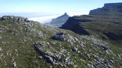 Aerial Table Mountain and Lion's Head Reveal Shot Stock Footage