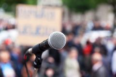 Protest. public demonstration. microphone. Stock Photos