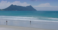 People fishing at Bream Bay, Marsden Point, Northland New Zealand Stock Footage