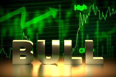 Bullish Stock Market Chart with Bull Word, 3D Rendering Piirros