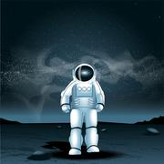 Astronaut on a planet, over a background with dark space and glowing stars. D - stock illustration