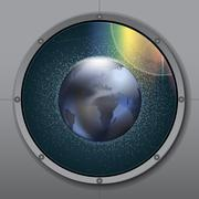 View from rocket or ship porthole on planet earth in space over a background Piirros