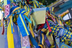 Ribbons with the symbols of Ukraine and the European Union Stock Photos