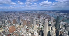 High Level View of New York City and Brooklyn Bridge   Stock Footage