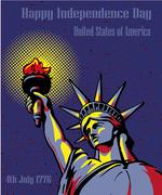 Happy Independence Day 4 July. US holidays concept poster. Vector illustration Stock Illustration