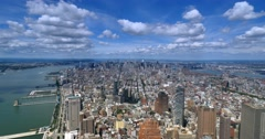 Timelapse High Angle View Manhattan Skyline and Hudson River  	 Stock Footage