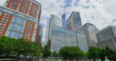 People Enjoy a Summer Day in Manhattan's Nelson A. Rockefeller Park   Stock Footage