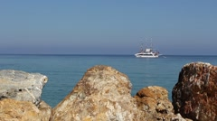 Turkish cruise boat taking tourists out on the Aegean Sea for the day Stock Footage