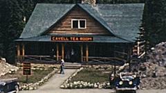 Canada  1948: people outside Cavell Tea Room. Jasper Park, Alberta Stock Footage