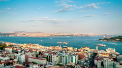 Istanbul. Golden horn and Bosphorus strait jast before sunset. Aerial view Stock Footage