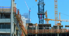 Construction industry development site with cranes in Los Angeles 4K Stock Footage