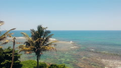 Luxurious summer resort, palms on beach, ocean waves slowly coming ashore Stock Footage