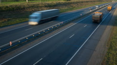 Cars moving on the highway. View from above. Sunset Dawn. Dusk. twilight. Stock Footage