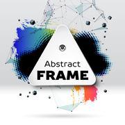 Background with brush stroke, blot, triangular grid and frame Stock Illustration