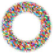 Flat colored ornament with retro halftone styled rectangles Stock Illustration