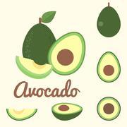 Vector avocado, flat design - stock illustration