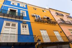 Old Town colorful houses  in Valencia, Spain. - stock photo