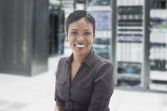 African American businesswoman in server room Kuvituskuvat