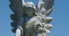 Angel statue in a cemetery in Northland New Zealand Stock Footage
