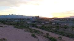Aerial of downtown Tucson, Arizona at sunrise - stock footage