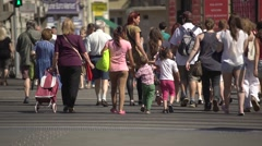 Crowded street, summer, tourist season Stock Footage