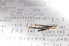 electronic and avionics female connector pins on electronic layout - stock photo