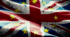Brexit grunge uk england great britain flag with european union EU yellow star Stock Footage