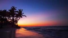 Sunset over Exotic Beach in Dominican Republic, Punta Cana Stock Footage
